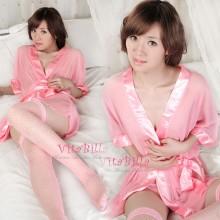 【情趣内衣】VitaBilla唯它彼乐 同浴爱河 透明露乳情趣内衣睡袍套装粉色