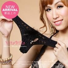 【情趣内衣】VitaBilla唯它彼乐 靓丽狂野黑  绒毛蕾丝性感女士内裤T裤