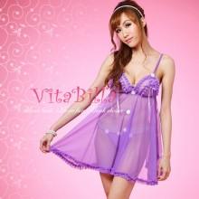 【情趣内衣】VitaBilla唯它彼乐 花瓣魅惑 浪漫紫白色小花 性感睡衣 内衣 睡裙(售完下架)