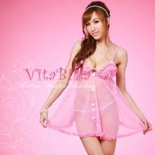 【情趣内衣】VitaBilla唯它彼乐 粉魅柔情 薄纱粉色清纯情趣内衣(售完下架)