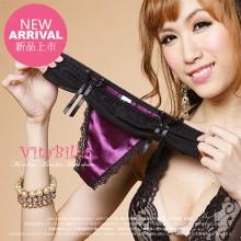 【情趣内衣】vitabilla唯它彼乐 靓丽丝缎紫 性感可爱蝴蝶结女士内裤