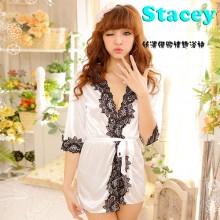 【情趣内衣】STACEY史黛丝时尚花边丝滑绸缎性感套装白色1310(售完下架)